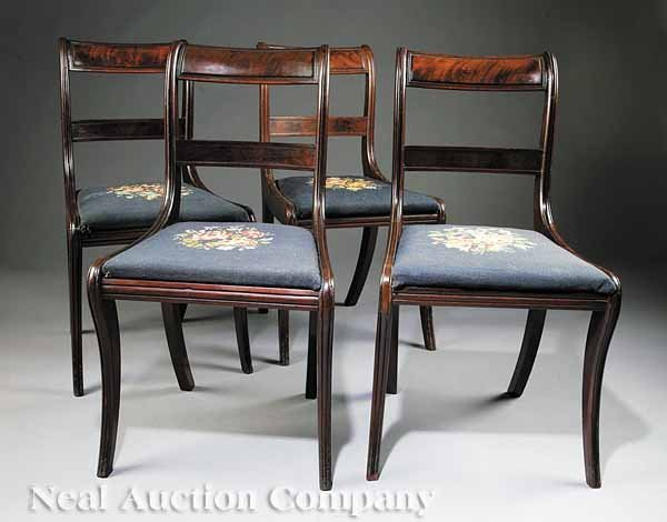 0023: Four American Classical Mahogany Side Chairs