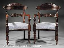 0042: Pair Anglo-Indian Carved Mahogany Armchairs