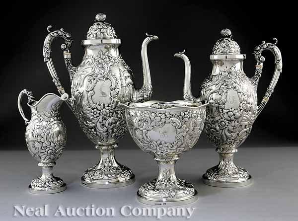 0164: Andrew E Warner Coin Silver Coffee/Tea Service