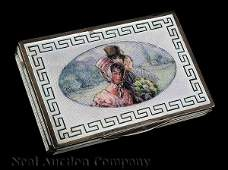 0544 French Silver and Guilloche Enamel Card Case