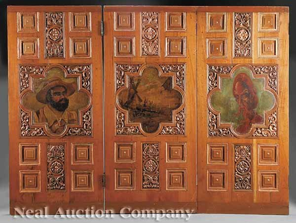 0649: Three Spanish Colonial Carved and Painted Doors