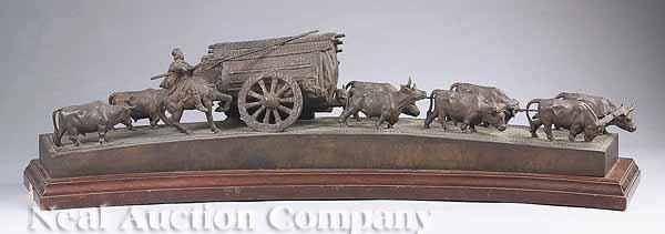 0650: South American Bronze Figural Group of a Caravan