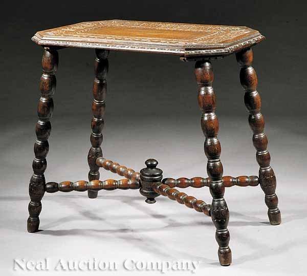 0652: Jacobean Revival Carved Oak Side Table