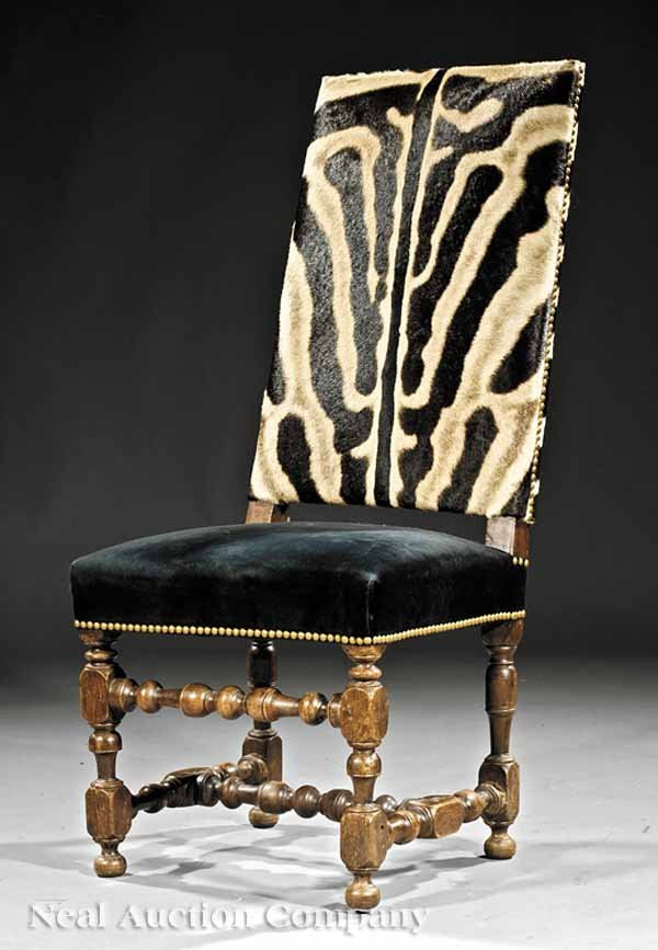 0653: William and Mary-Style Walnut Hall Chair