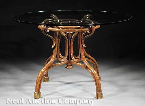 0655: Continental Art Nouveau Bentwood Center Table