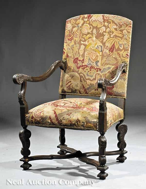 0656: Louis XIV-Style Carved Walnut Fauteuil a la Reine