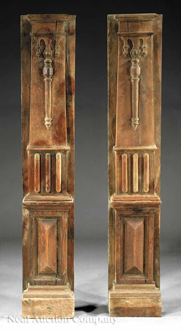 0657: Tudor Carved Oak Fireplace Breast/ Mantel Element