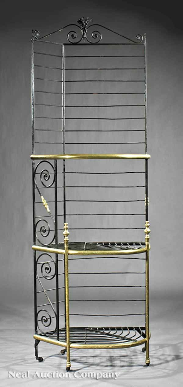 0663: French Cast Iron and Brass Baker's Rack