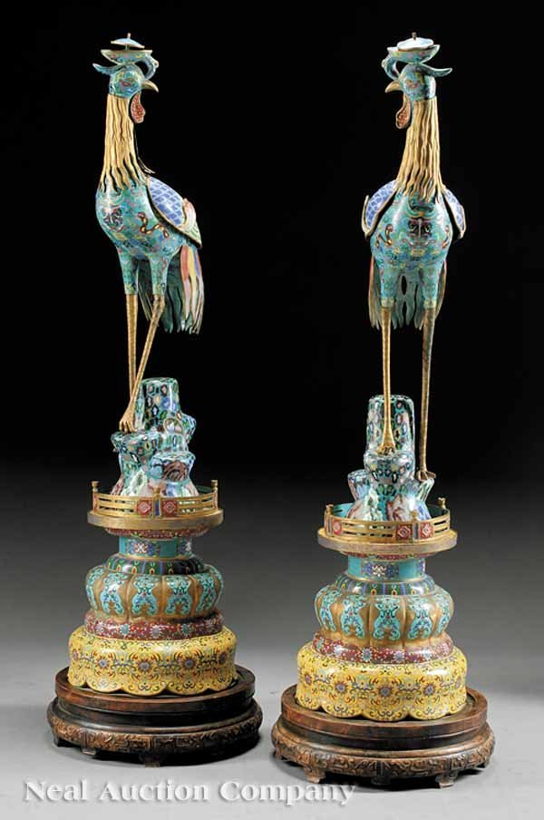 0667: Pair of Large Polychrome Cloisonne Peacocks