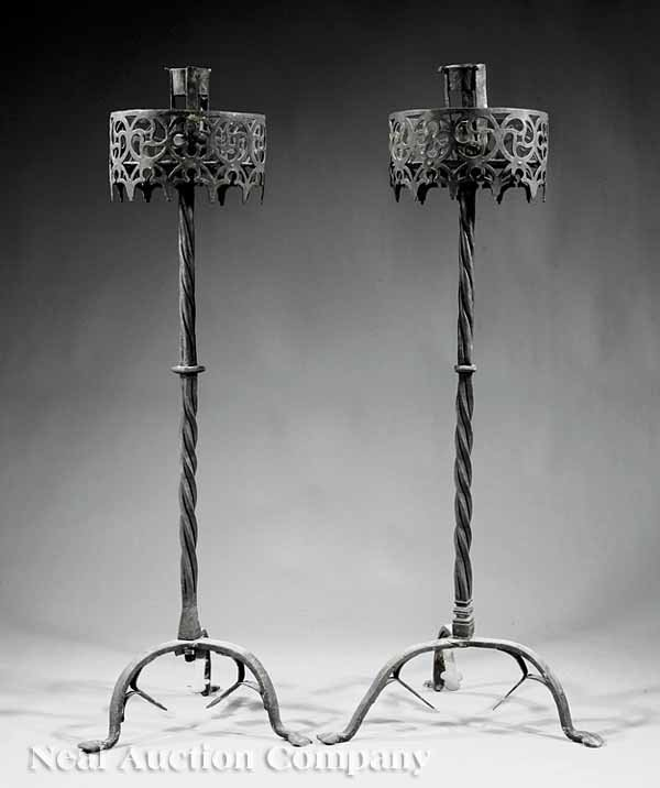0668: Pair of French Renaissance Wrought Iron Torcher