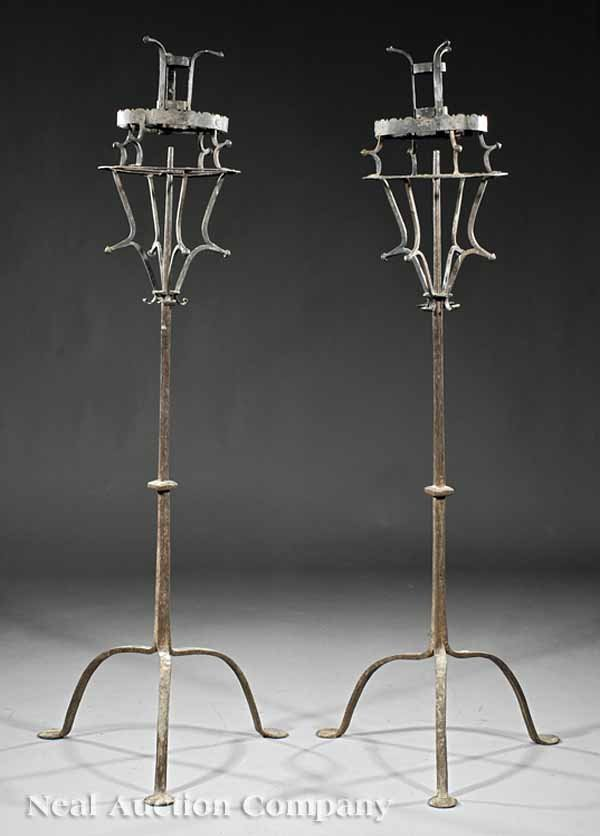 0669: Pair of Continental Wrought Iron Altar Torcheres