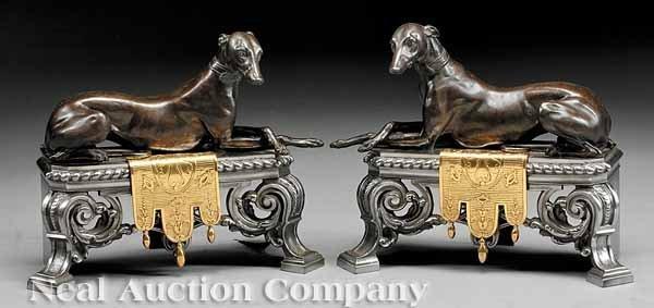 0670: Patinated Bronze, Ormolu, Polished Steel Chenets