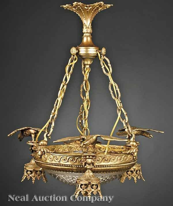 0672: Empire-Style Gilt Bronze Chandelier