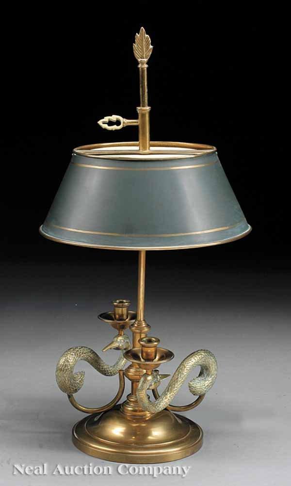 0673: French Gilt Brass Figural Bouillotte Lamp