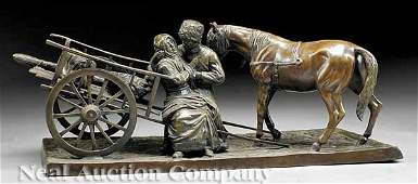 0678 Patinated Bronze Figural Group Russian Peasants