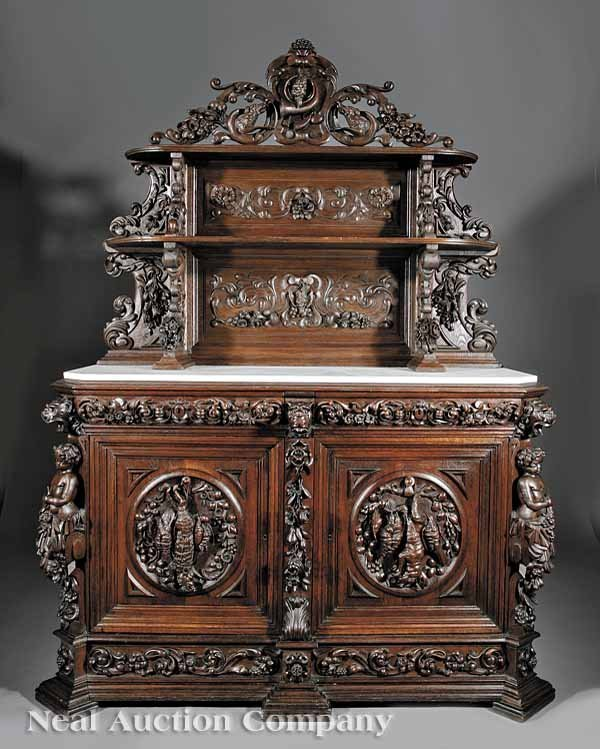0756: Highly Carved Oak Sideboard, possibly JA Bailly