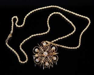 14 t. Yellow Gold and Diamond Pin/Pendant