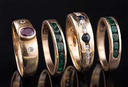 14 kt. Yellow Gold and Gemset Rings