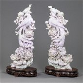 Pair of Chinese Jadeite Avian Figural Groups