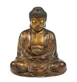 Chinese Parcel-Gilt Bronze Figure of Amitabha