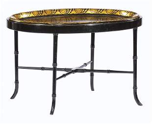 Gilt Decorated Black Lacquered Papier Mache Tray