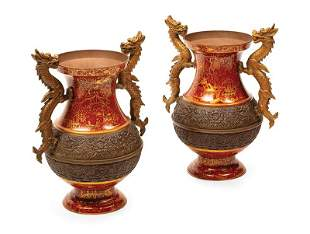 Chinoiserie Lacquered Bronze Vases