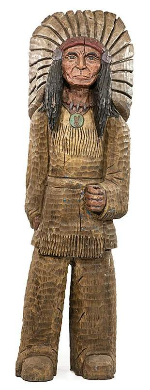 American Carved Wood Cigar Store Indian