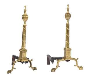 Pair of American Brass Andirons