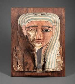 Egyptian Polychrome Gesso on Wood Mummy Mask