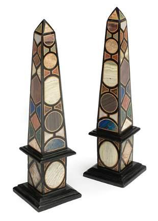 Grand Tour-Style Specimen Marble Obelisks
