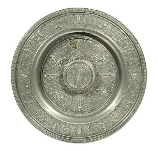 """Grand Tour-Style """"Temperantia"""" Pewter Charger"""