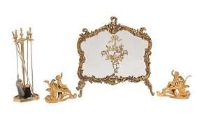 Bronze and Brass Four-Piece Fireplace Garniture