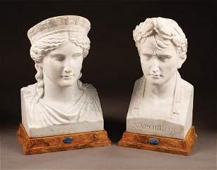 Two Neoclassical-Style Carved White Marble Busts
