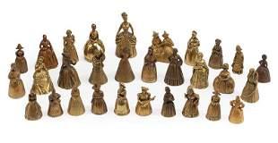 Thirty Continental Bronze Figural Bells