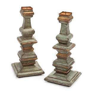 Italian Carved and Painted Wood Prickets