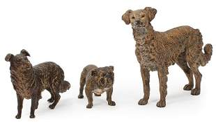 Three Cold Painted Bronze Figures of Dogs