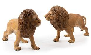 Cold Painted Bronze Figures of Lions