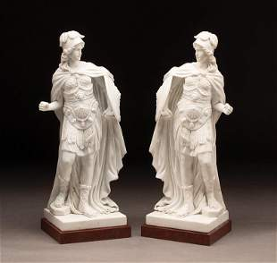 Carved White Marble Sculptures of Roman Soldiers