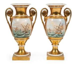 Pair of Paris Gilt Porcelain Vases