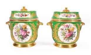 Paris Polychrome and Gilt Porcelain Fruit Coolers