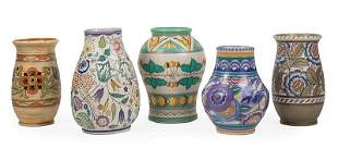 Five English Art Deco Pottery Vases