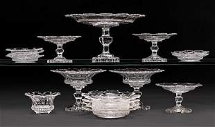 Sixteen Anglo-Irish Cut Crystal Table Objects