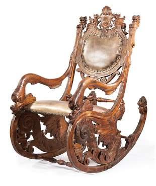 Italian Carved Walnut Fantasy Rocking Chair