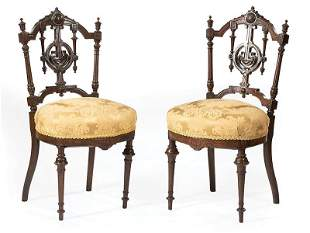 Carved Rosewood Parlor Chairs, poss. Herter