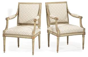 Pair of Louis XVI Gris Peinte Fauteuils