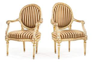 Italian Creme Peinte and Giltwood Fauteuils
