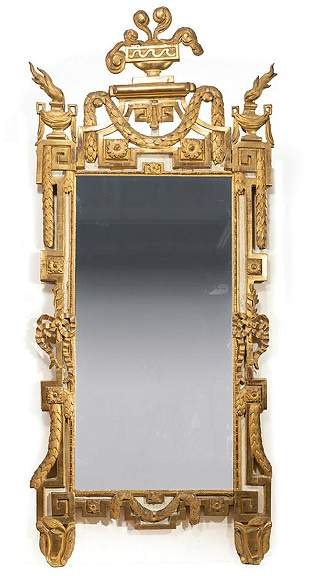 Louis XVI Creme Peinte and Carved Giltwood Mirror