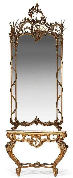 Carved Giltwood Console with Mirror