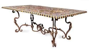 Italian Pietra Dura and Wrought Iron Table