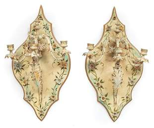 Porcelain Mounted Metal and Wood Wall Sconces